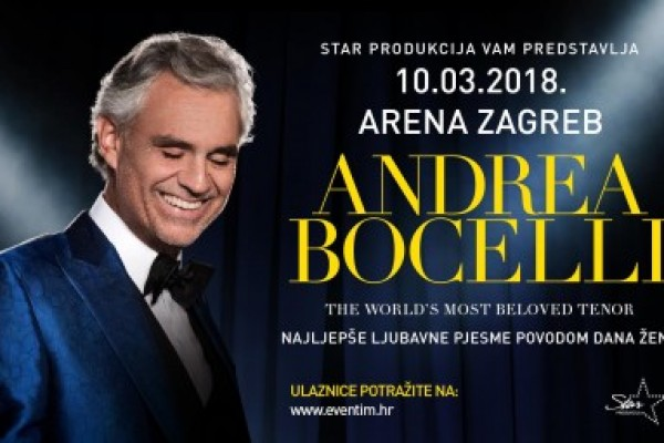 Concert Andrea Bocelli in Arena  -10% discount on accommodation upon presentation tickets for event